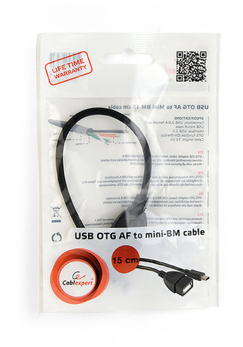 CableXpert USB OTG AF auf Mini BM Adapterkabel, 0,15 m
