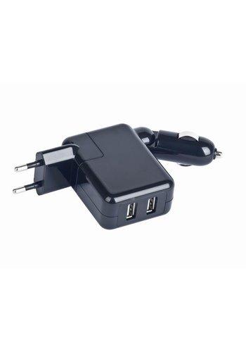 Gembird MP3A-UC-ACCAR2 USB Reise-Ladeadapter, schwarz