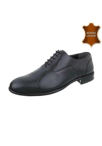 D5 Avenue Schwarze Leder-Business-Schuhe für Männer