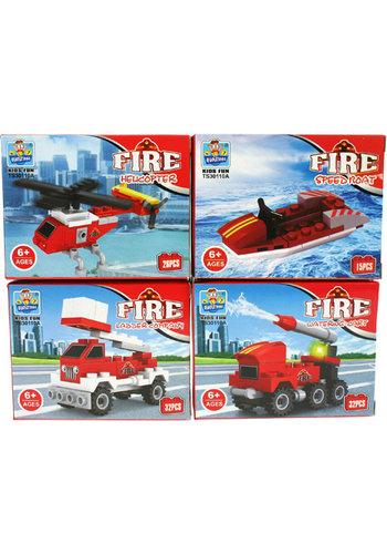 Bausteine Fahrzeuge Feuerwehr 4f.sort., in Box
