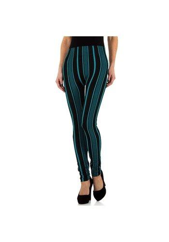 HOLALA Damenleggings von Holala Gr. Eine Größe schwarz mit türkisfarbenen Streifen