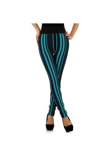 HOLALA Damenleggings von Holala Gr. Einheitsgröße - schwarz mit blauen Streifen