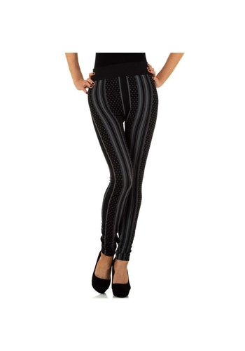 HOLALA Damenleggings von Holala Gr. One Size - schwarz mit grauem Streifen