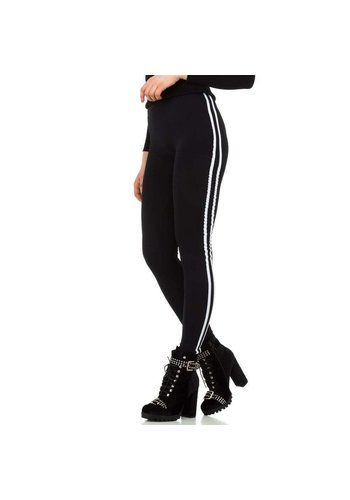 HOLALA Damenleggings von Holala Gr. Einheitsgröße - schwarz mit weißem Streifen