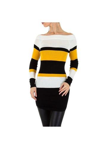 D5 Avenue Frauen Pullover von Voyelles Gr. One Size - weiß gelb