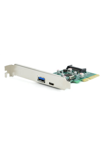 Gembird 2-Port USB 3.1 PCI-Express Zusatzkarte (Typ-A + Typ-C), mit extra niedrigem Profil