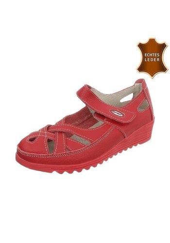 D5 Avenue Leder Damen Slipper - red