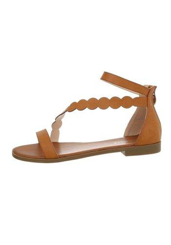 D5 Avenue Flache Sandalen für Damen - Kamel