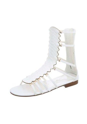 D5 Avenue Flache Sandalen für Damen - weiß