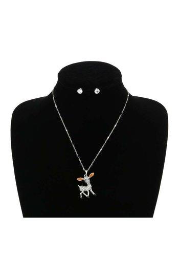 D5 Avenue Damenhalskette mit Ohrringen - Silberfarbe