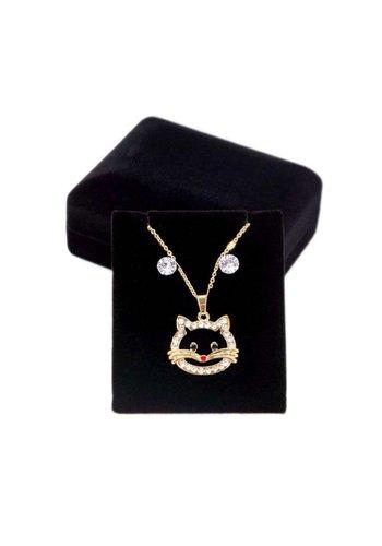 D5 Avenue Damenhalskette mit Ohrringen in Gold