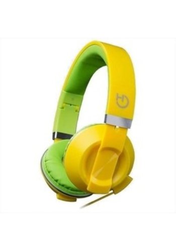 HIDITEC COOL KIDS Kopfbügel binaural verdrahtet grün, gelbes mobiles Headset