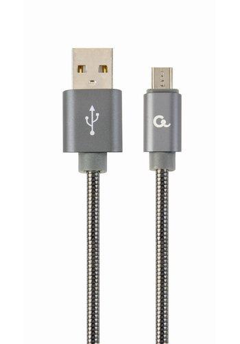 CableXpert Micro-USB-Kabel mit Metallanschlüssen, 2 m, schwarz