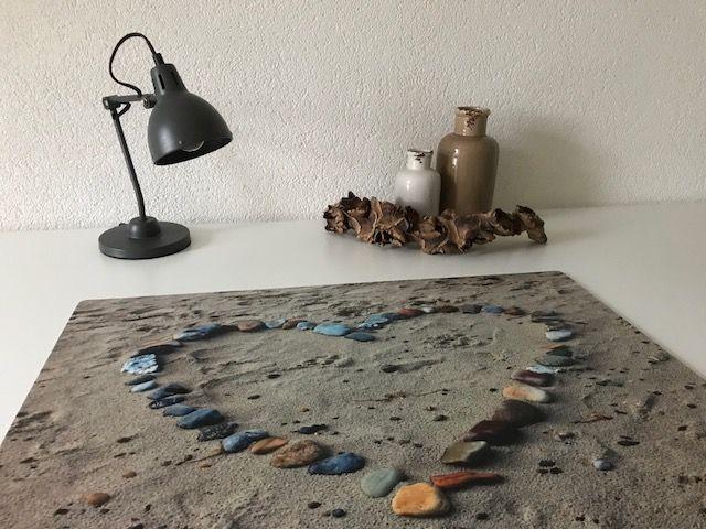 Bureau onderlegger HART van schelpen in het zand