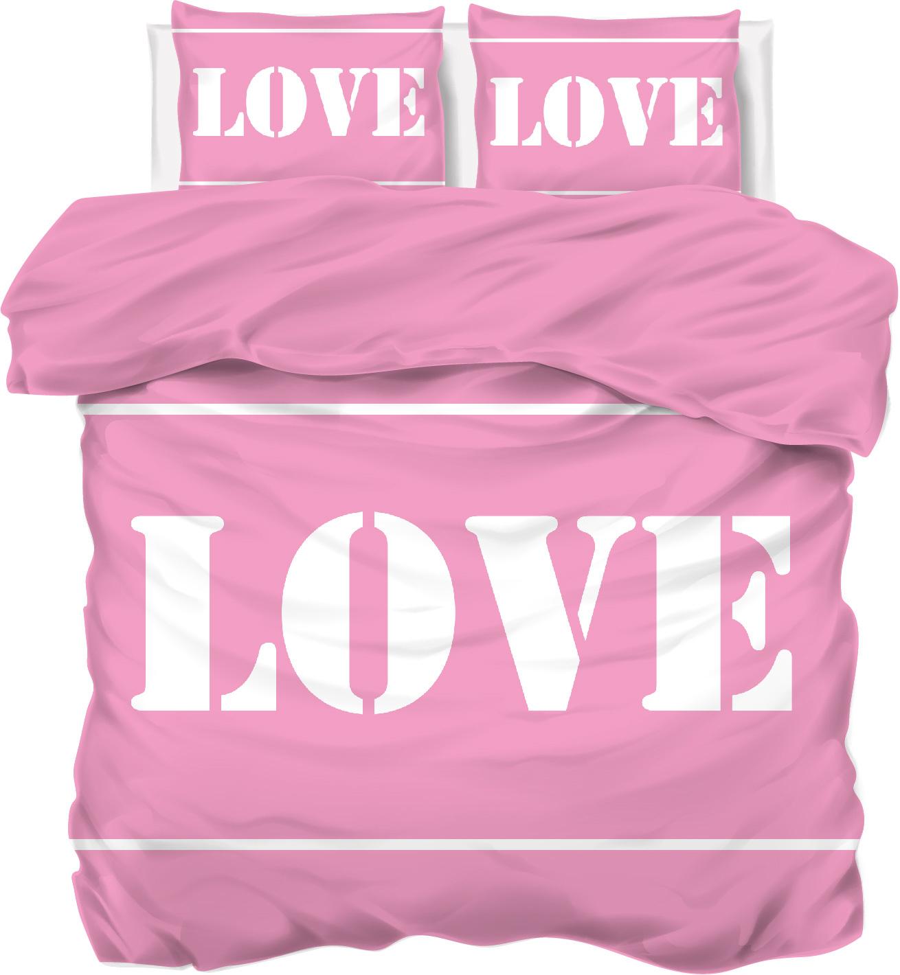 Een dekbedovertrek roze met love tekst