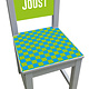 Kinderstoel met blauw/groen geblokte print
