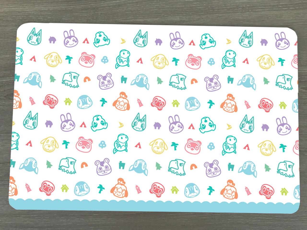 Bureau onderlegger met een Animal Crossing patroon