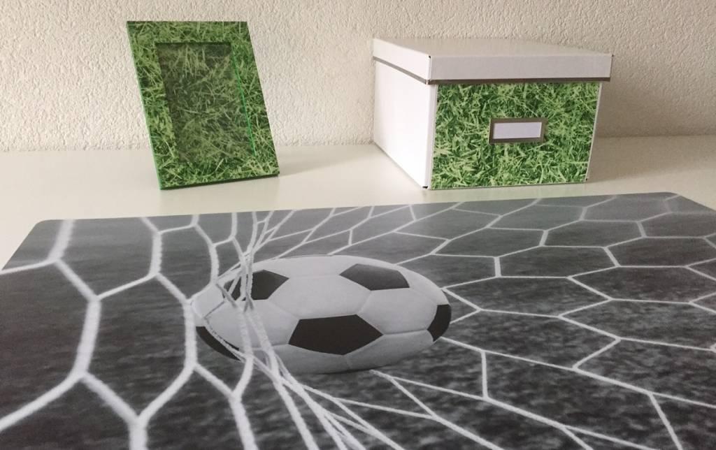 Bureau onderlegger voetbal GOAL zwart wit, voor de stoere voetballer