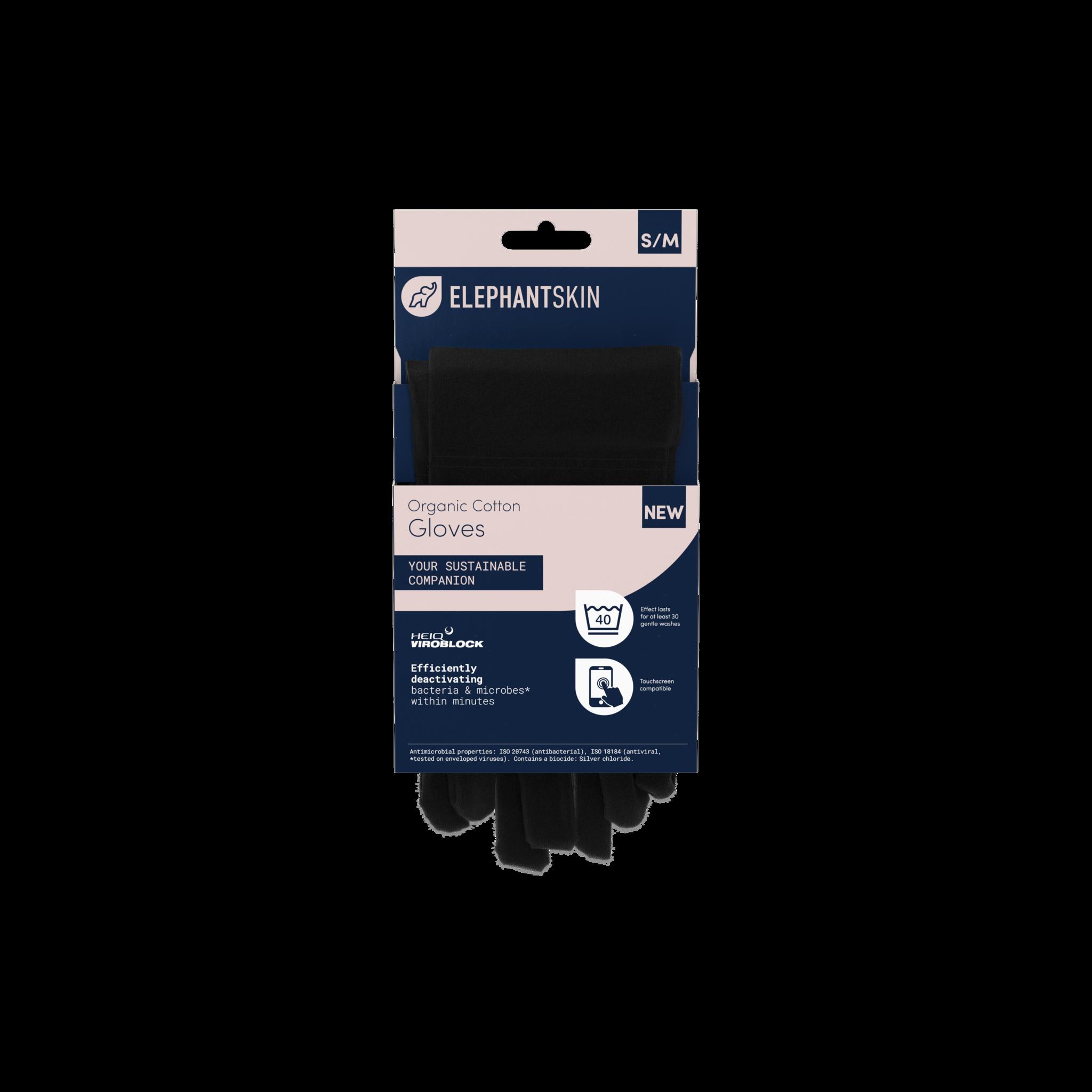 ElephantSkin Black S/M ElephantSkin Reusable Antibacterial and Antiviral Gloves (15 case)
