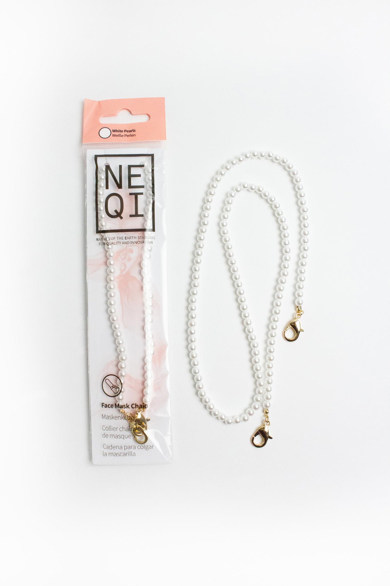 NEQI White Pearl Detachable Mask Chain (12 Packs)
