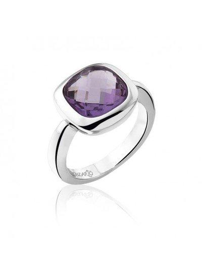 Zilveren ring met vierkante paarse Amethist steen | Ringen | Sieraden online bestellen | Fuva.nl