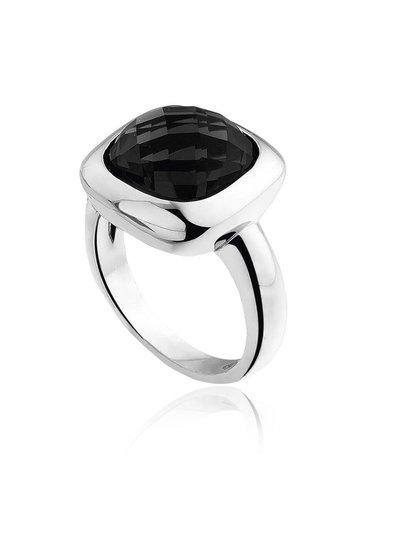 Zilveren ring met vierkante zwarte Onyx steen | Ringen | Sieraden online bestellen | Fuva.nl