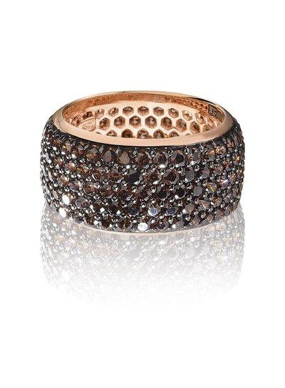 Zilver rose vergulde ring met bruine Swarovski bergkristallen   Ringen   Sieraden online bestellen   Fuva.nl