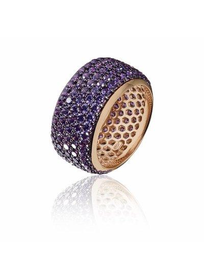 Zilver rose vergulde ring met paarse Swarovski bergkristallen | Ringen | Sieraden online bestellen | Fuva.nl