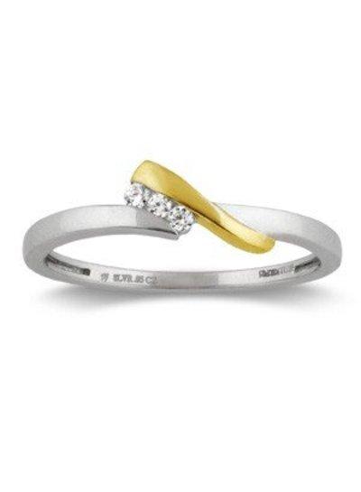 Geel/witgouden ring (14 Krt) met 3 Diamanten | Trouw- Verlovingsring | Ringen | Sieraden online bestellen | Fuva.nl