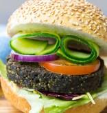 It's Greenish Algae burger with teff and sweet potato