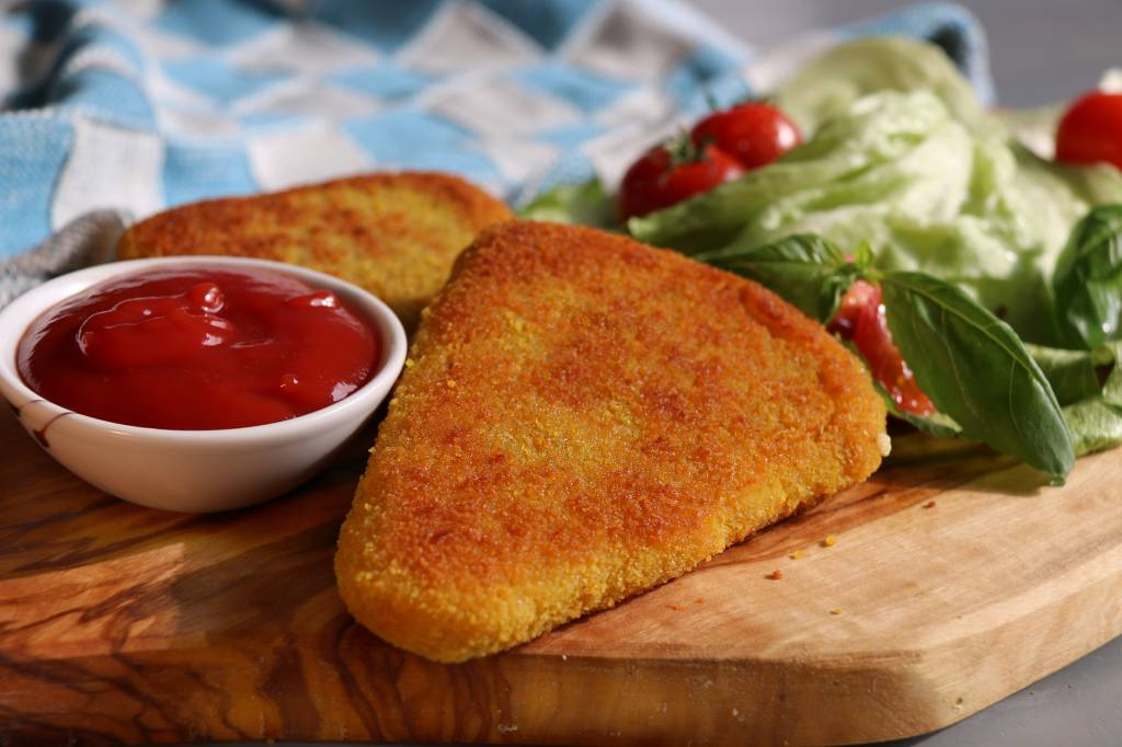 It's Greenish Vegan gouda schnitzel
