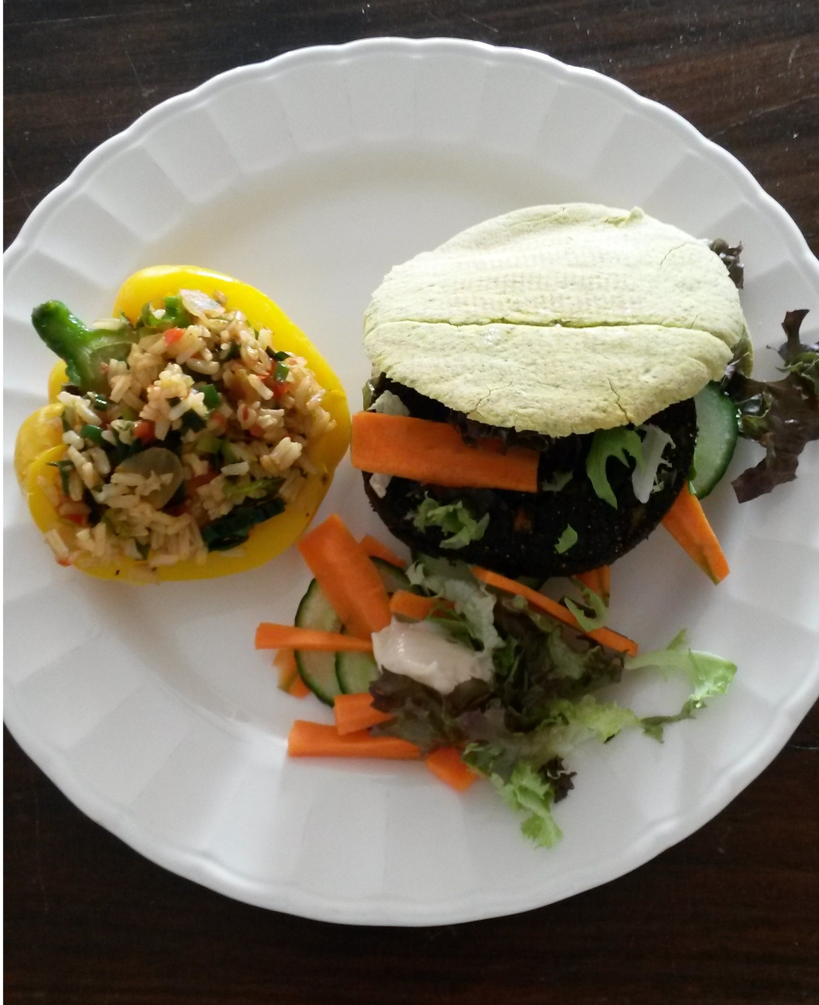 recipe algae burger with stuffed bell pepper