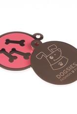 Hondenpenning rond - Roze botjes