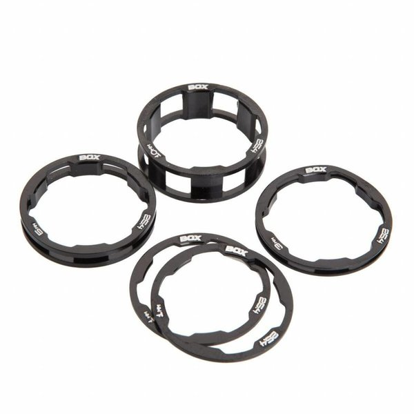"""BOX Zero stem spacers Kit 1 1/8"""" 10, 5, 3, 1(2pcs)mm black"""