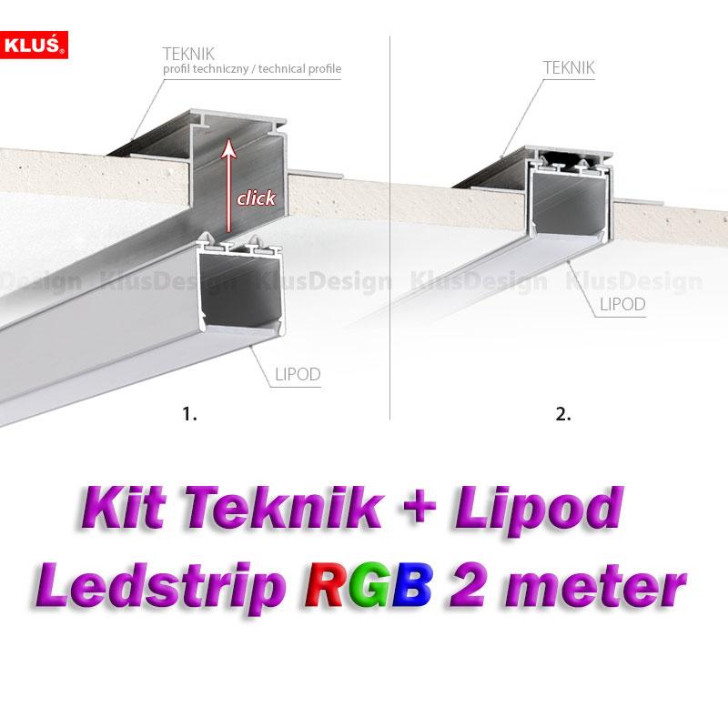 Klus Design Gyproc inbouwprofiel Teknik + Lipod 2m RGB