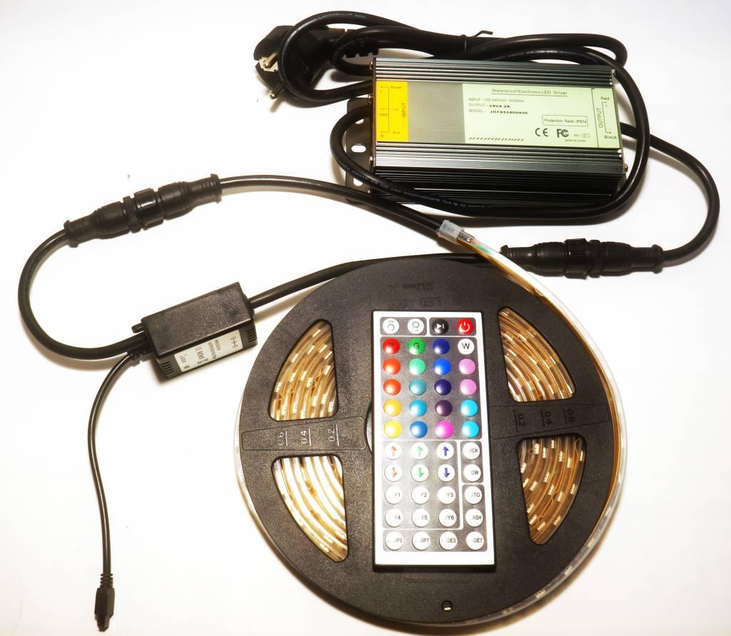 Vallas KIT RGB LED Strip + voeding + controller IP65