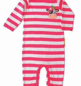 Olive & Moss Olive & Moss Collette the Cow Striped Applique Playsuit