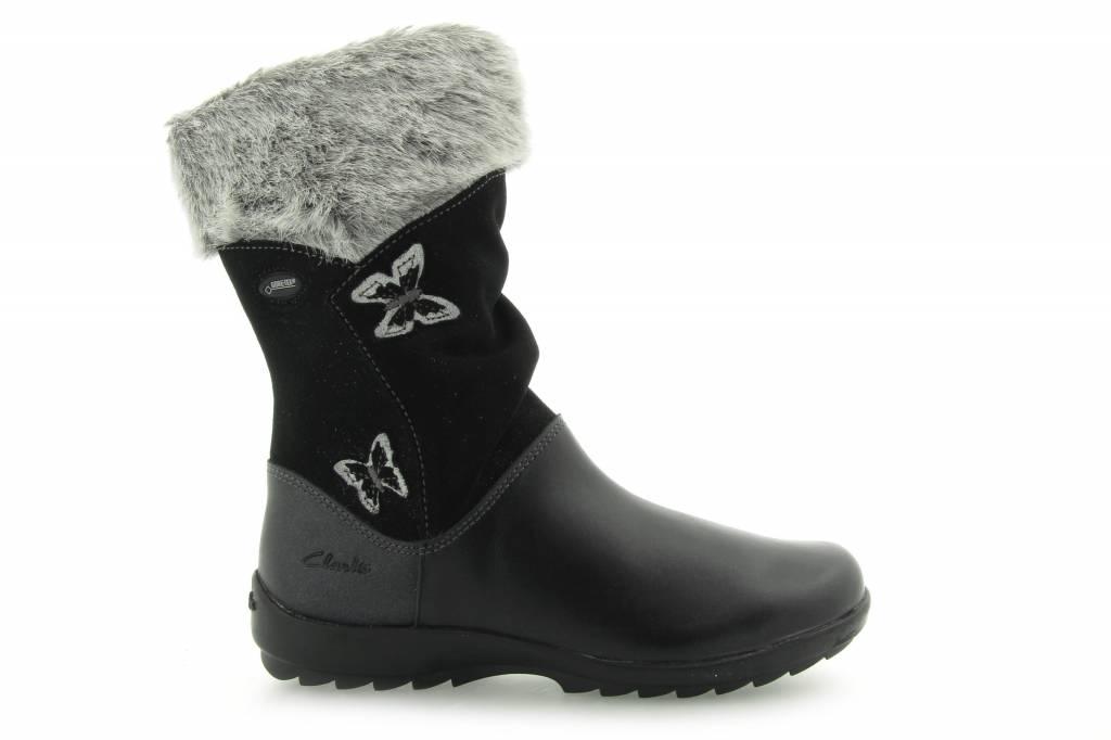 Clarks Clarks Arlina Go GTX Black Leather Infant Snowboot