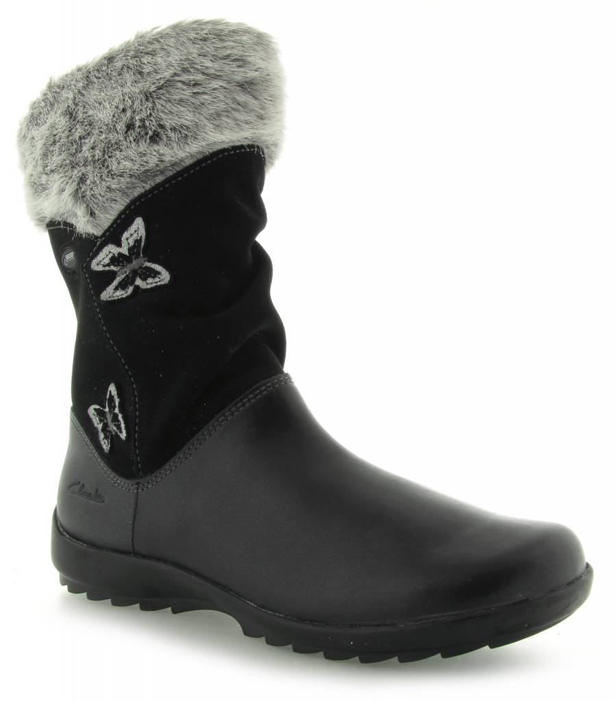 Clarks Clarks Arlina Go GTX Black Leather Junior Snow boot