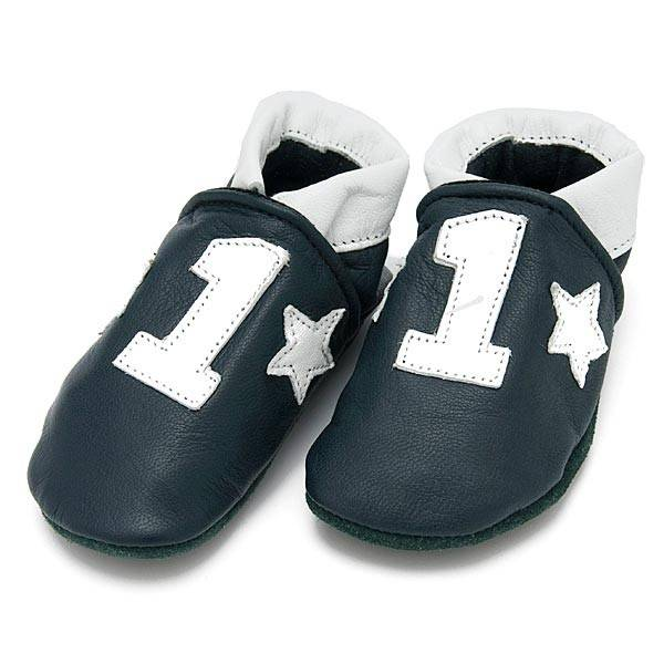 Baby Dutch Baby Dutch Blue Leather Slippers with Number One Motif