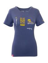 """Damen T-Shirt """"Gipfelstürmer"""" blau"""