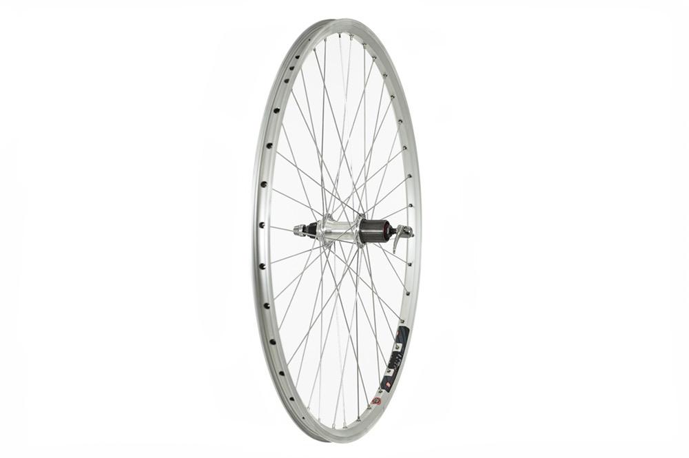 Raleigh 700C Rear Wheel, Mach1 240 Rim, Silver, 8/9SPD Cassette Hub (QR)