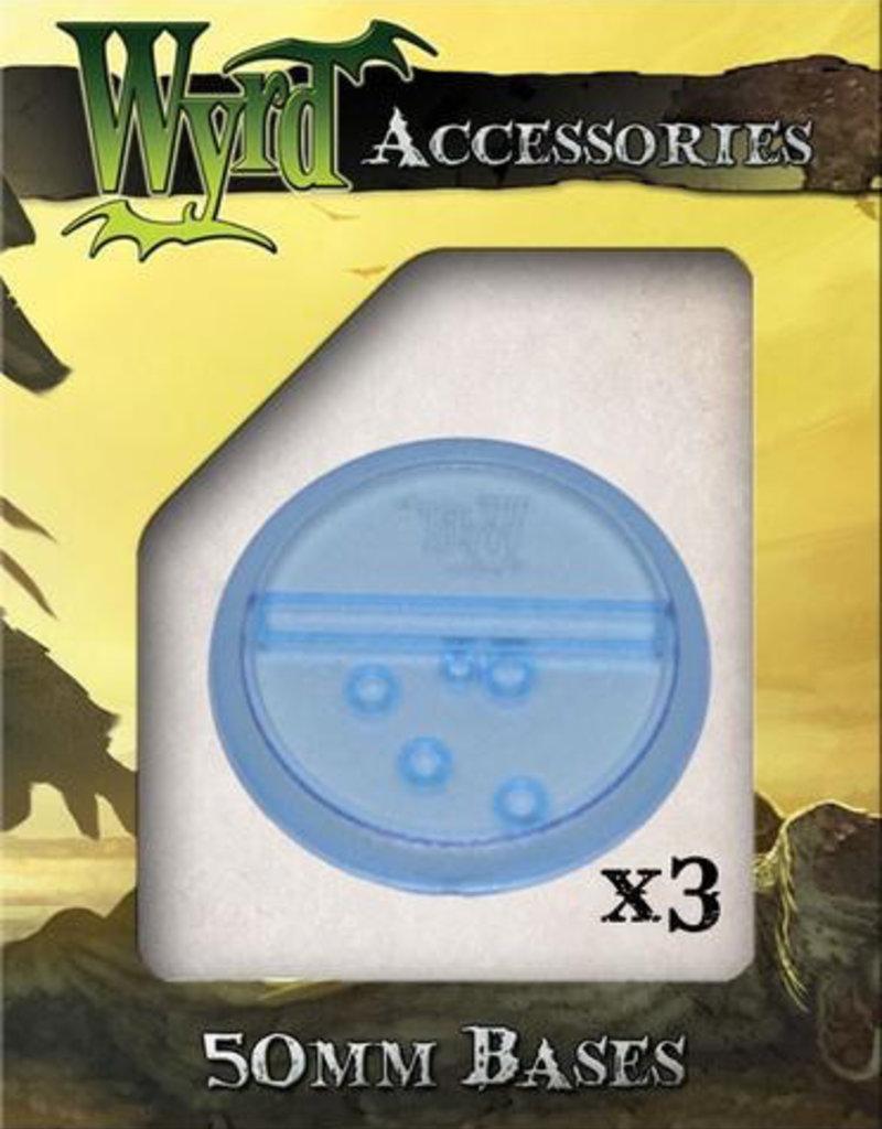 WYR - Malifaux Zubehör Blue Translucent Bases 50mm (3)