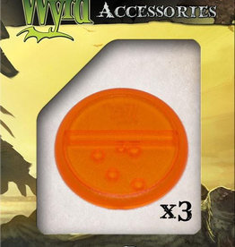 WYR - Malifaux Zubehör Orange Translucent Bases 50mm (3)