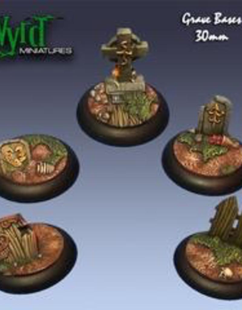 WYR - Malifaux Zubehör Graveyard 30MM - 5 x Wyrdscapes Scenic Bases