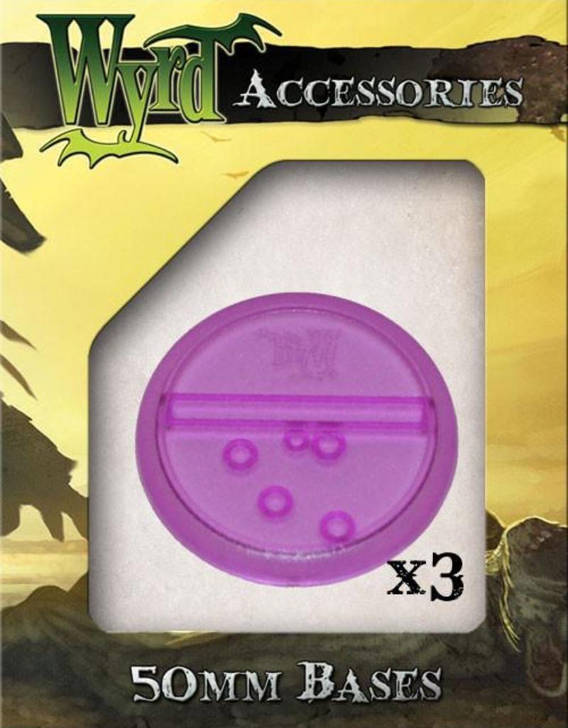 WYR - Malifaux Zubehör Purple Translucent Bases 50mm (3)
