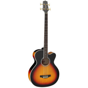 Takamine GB72CE-BSB Acoustic Bass, Solid Spruce Top, Flame Maple Back w/ TK-40D Pickup, Sunburst