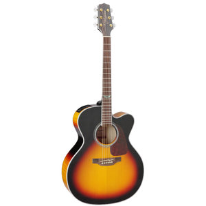 Takamine GJ72CE-BSB Jumbo Cutaway, Sunburst Solid Spruce Top, Figure Maple Back w/ TK-40D Pickup
