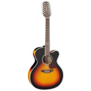 Takamine GJ72CE-12-BSB 12-String, Jumbo Cutaway, Sunburst Solid Spruce Top, Figure Maple Back w/ TK-40D Pickup