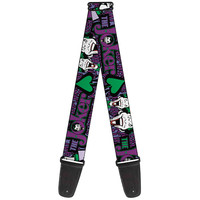 Buckle Down Joker Face Logo Spades Purple Guitar Strap